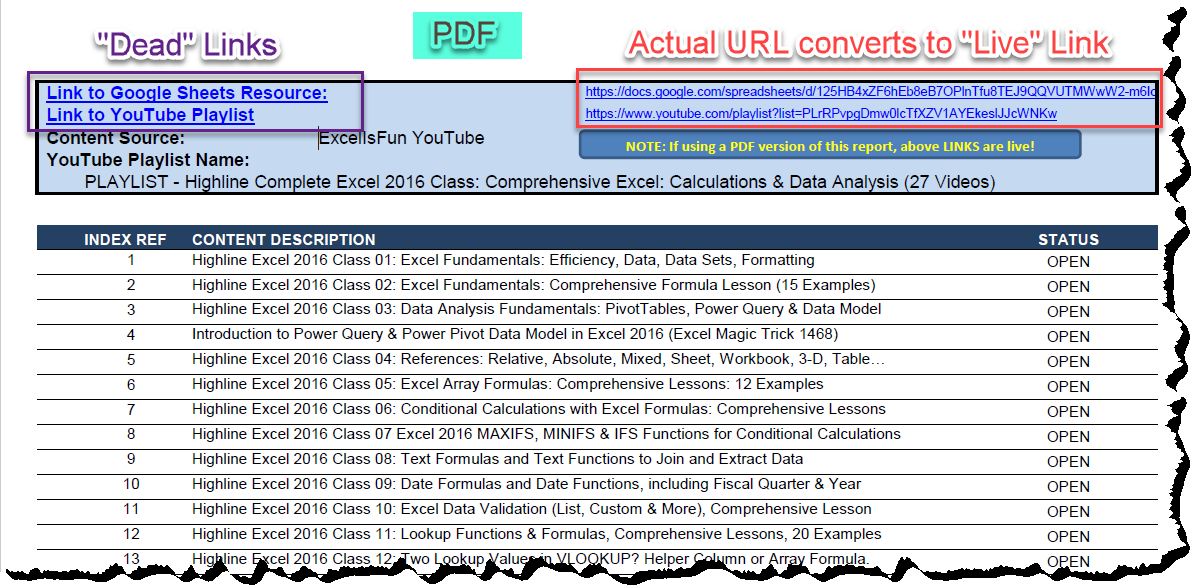 "MS Excel — How To Make Hyperlinks ""Stick"" When Converted to PDF?"