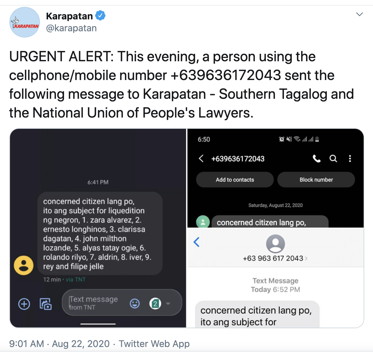 A screenshot of the text message hitlist sent to Karapatan.