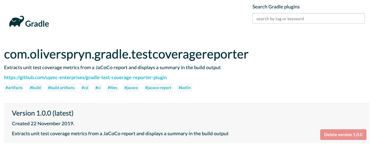 The Test Coverage Reporter plugin