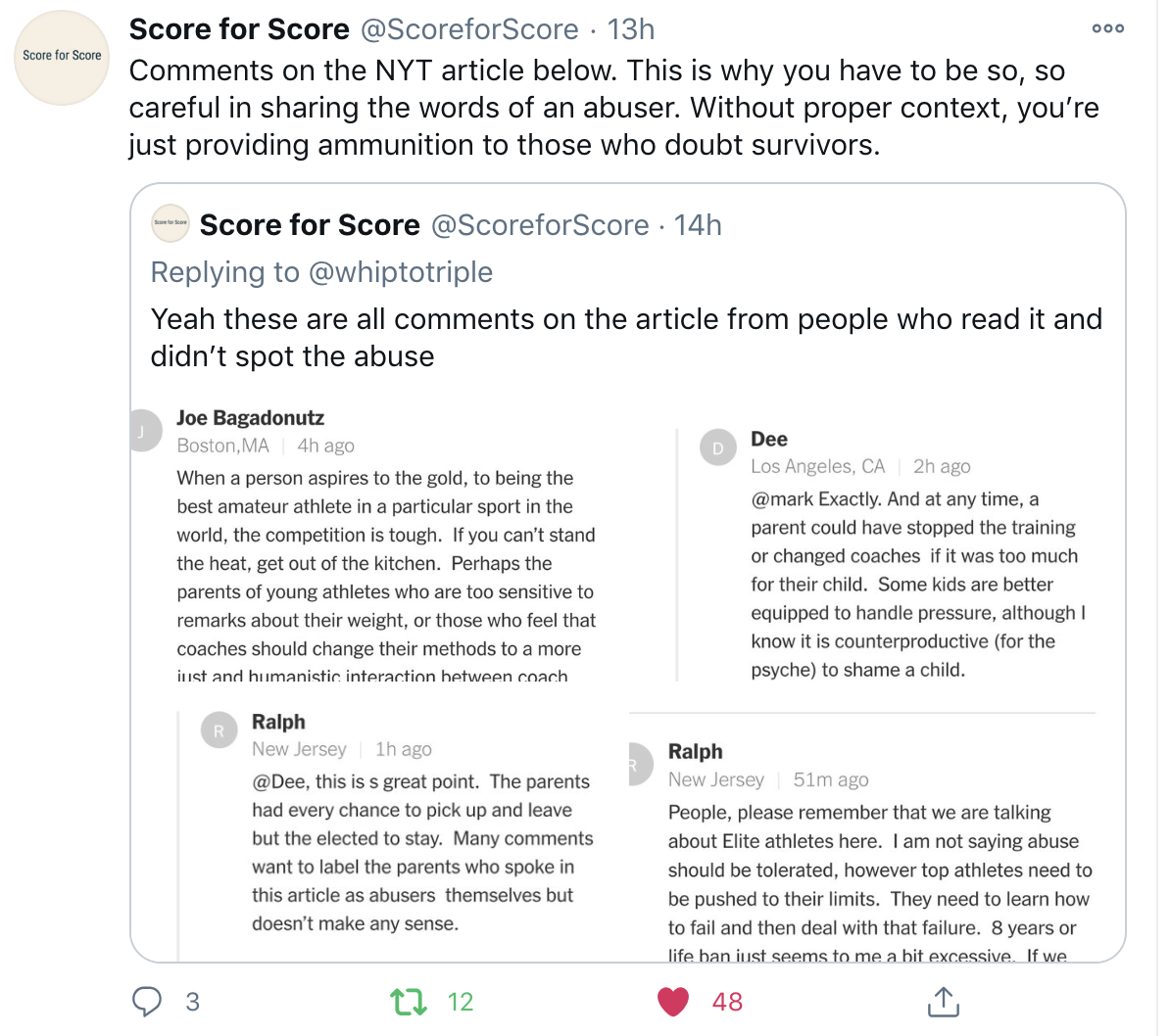 comments on NYT article doubting Maggie Haney's abusive behavior