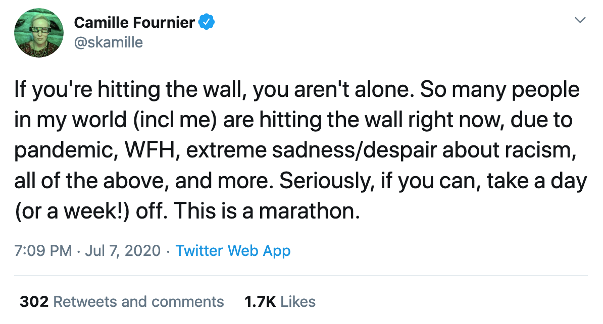 "Camille Fournier tweets: ""If you're hitting the wall, you're aren't alone. […] This is a marathon"""