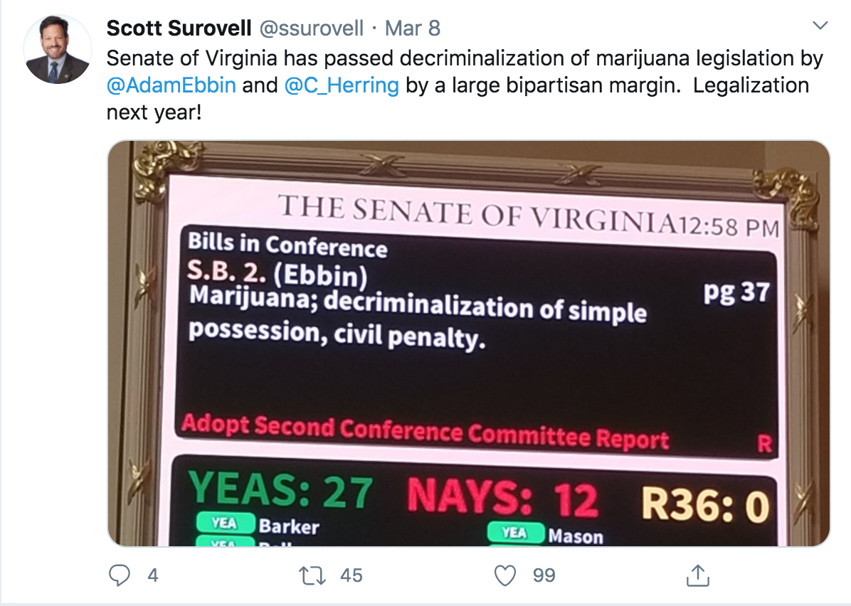 virginia legalization 2020 scott surovell tweet