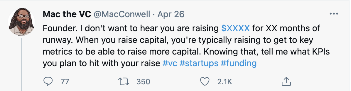 a Twitter post of a business angel