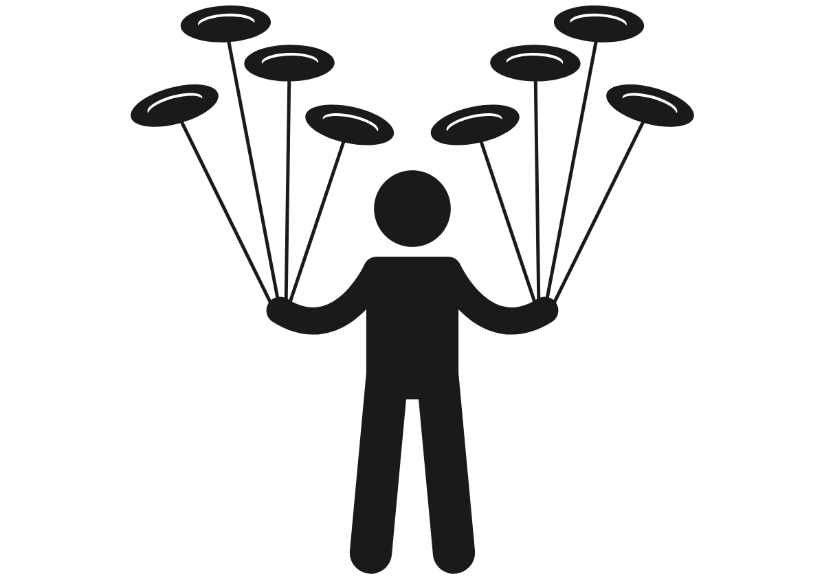 Graphic of a person spinning plates