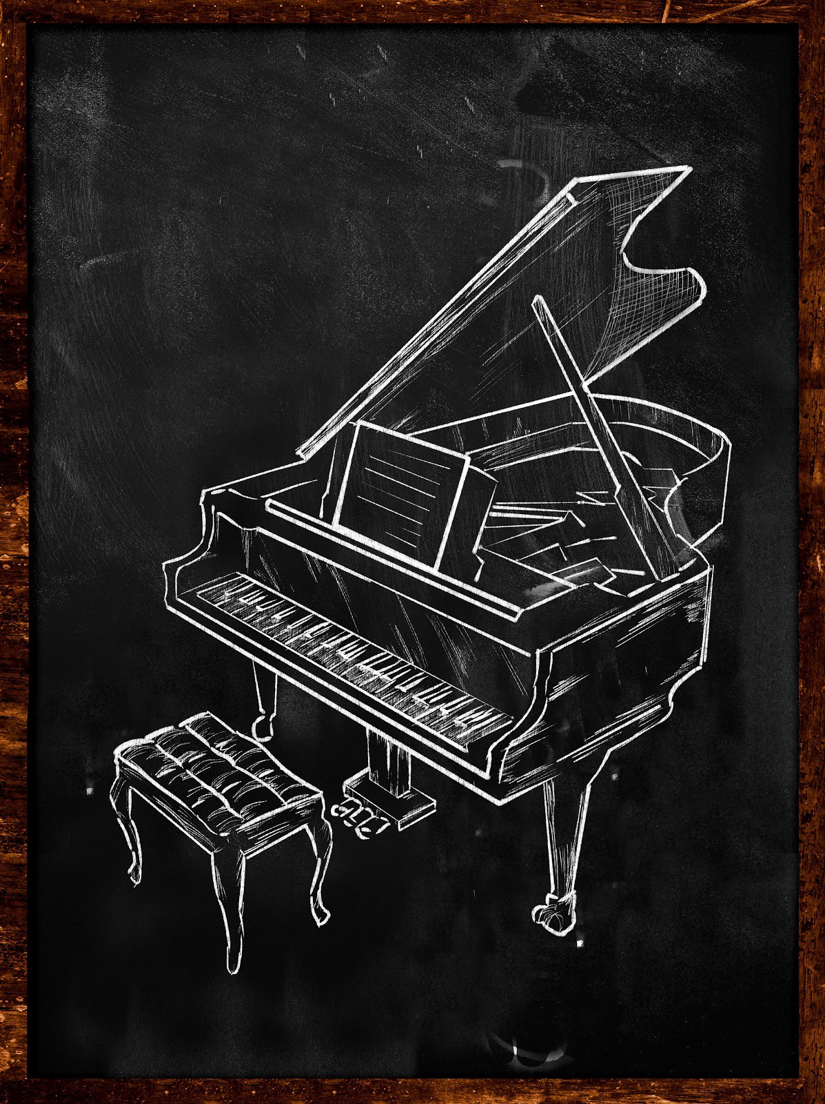 Chalk drawing of a Grand Piano with Bench