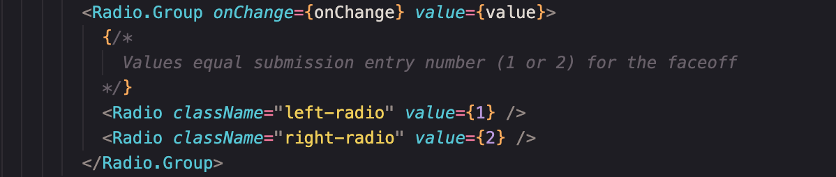 code showing two radio dial components where values were updated to just 1 and 2