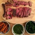 Rib of beef, carrots, carrot-top chimichurri, and kale.