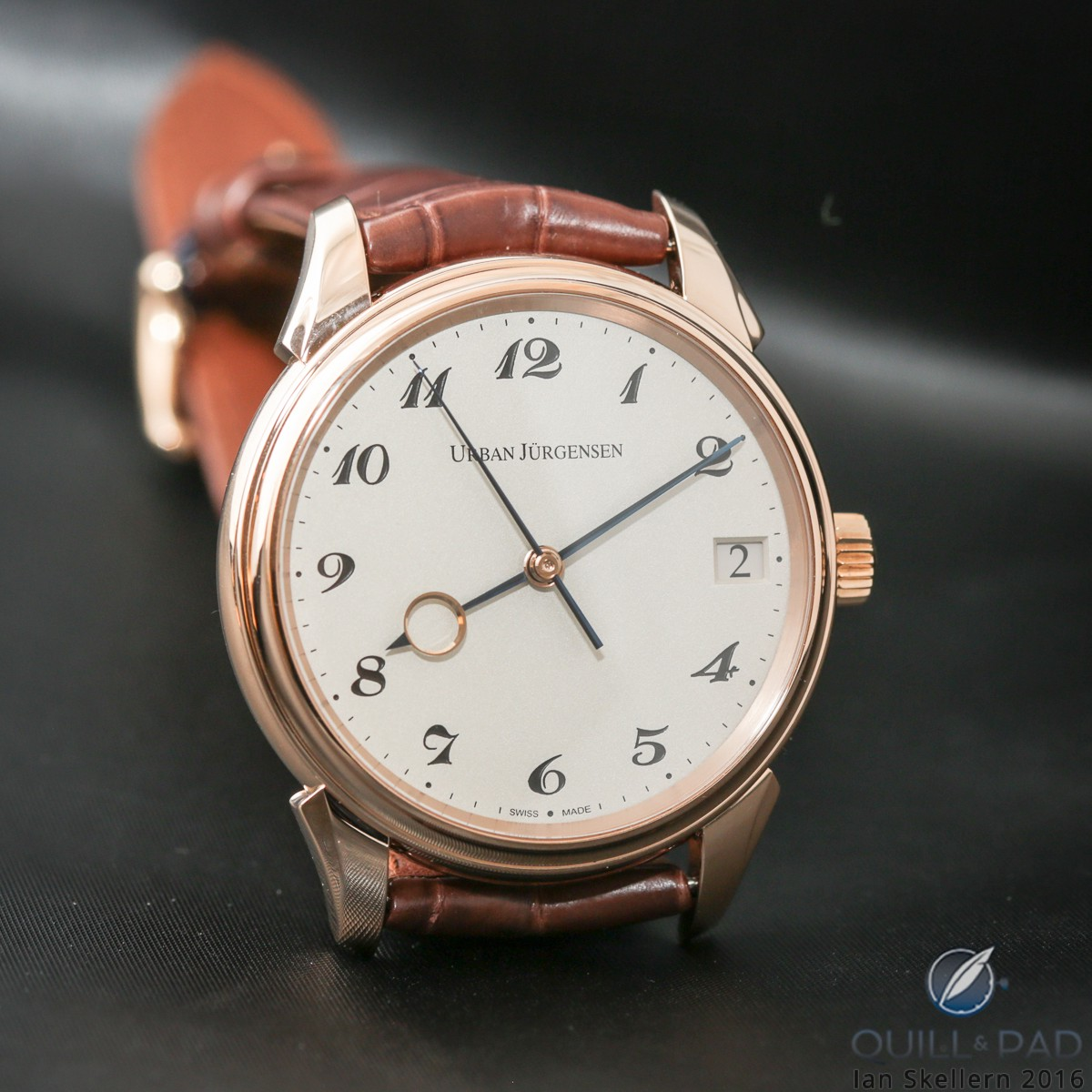 Urban Jürgensen Jules Collection Reference 2240 with grenage (frosted) dial and red gold case
