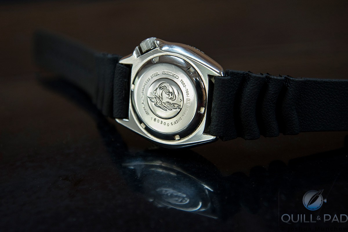 View of the back of the Seiko 7002 Diver