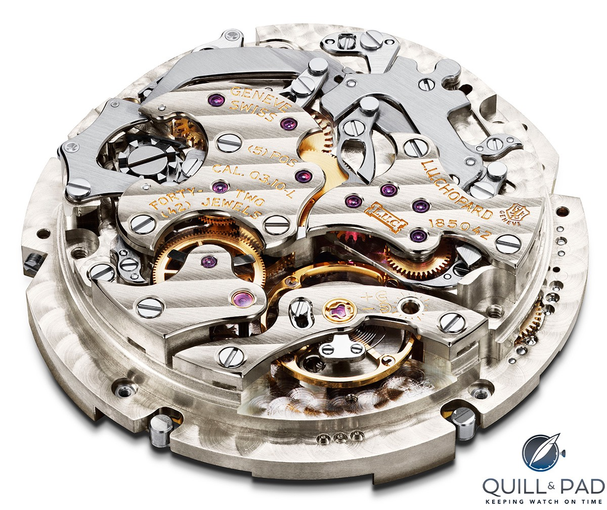 The Geneva Seal is visible at 3 o'clock on the movement of this beautifully finished Chopard L.U.C. Perpetual Chrono