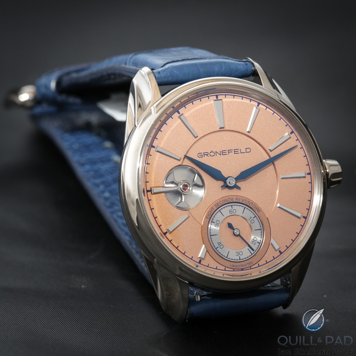 Grönefeld 1941 Remontoire in white gold with orange solid silver dial