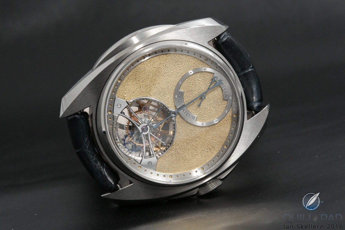 Akrivia Regulateur Tourbillon with hand-chased gold dial