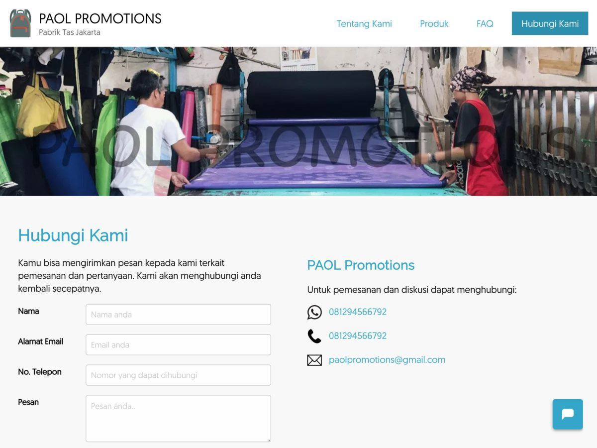 Contact Us page of PAOL Promotions