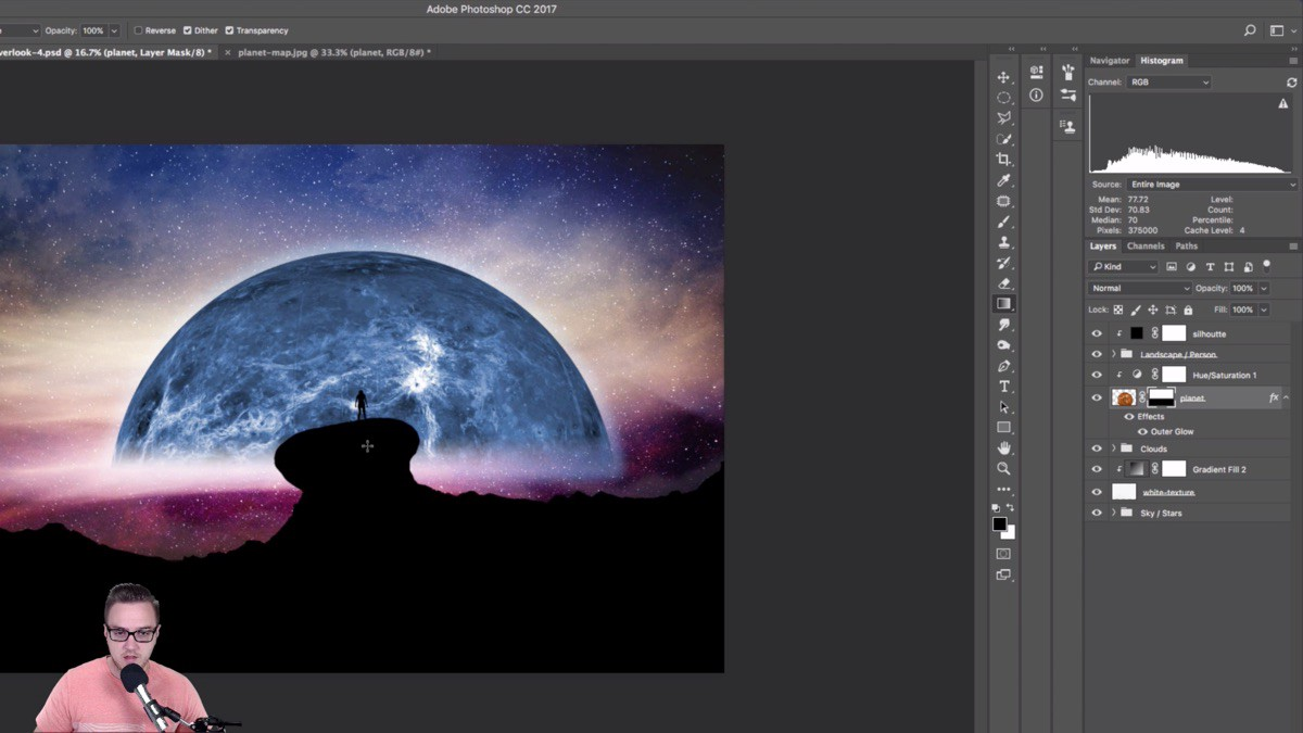Free Photoshop Composite Tutorial — Starry Overlook