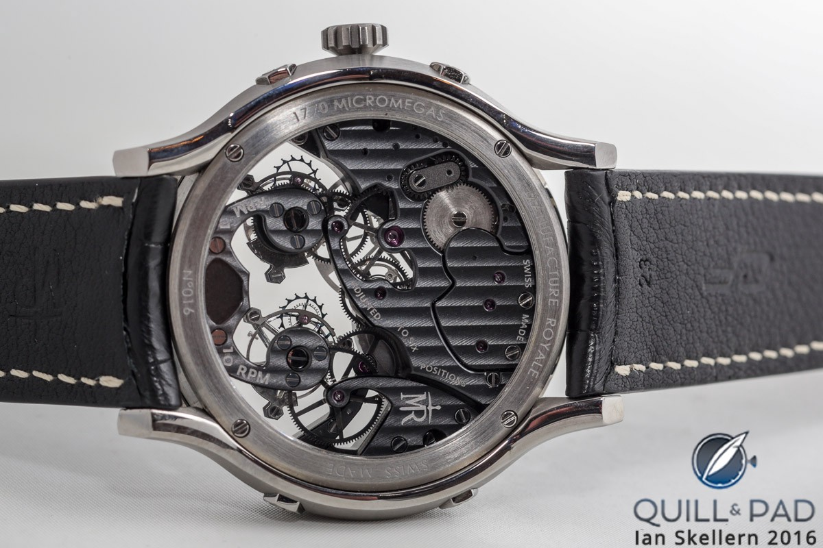 View through the display back of the Manufacture Royale 1770 Micromégas Revolution in titanium with black movement