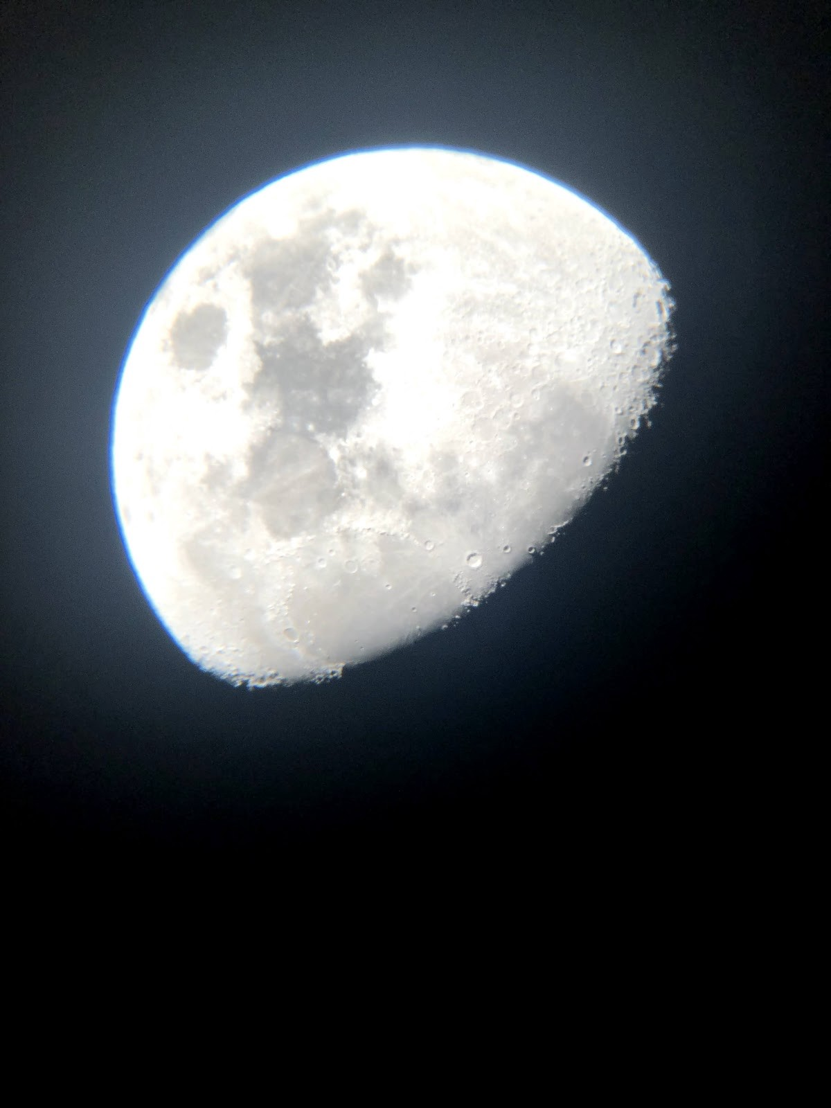 The Moon, from Cardiff, December 2020. My telescope and my photo and its mostly in focus!