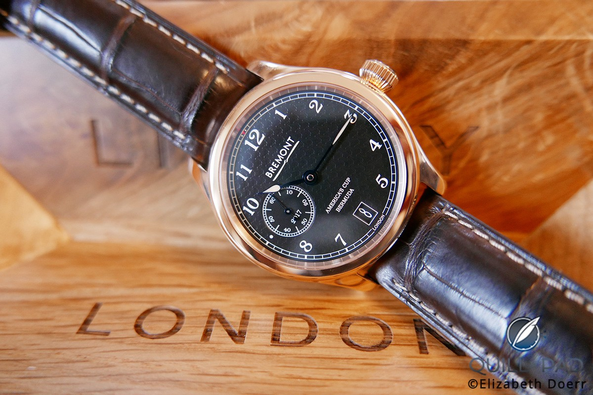 The latest official America's Cup watch from Bremont, the AC35: note the subtly embossed Auld Mug on the dial