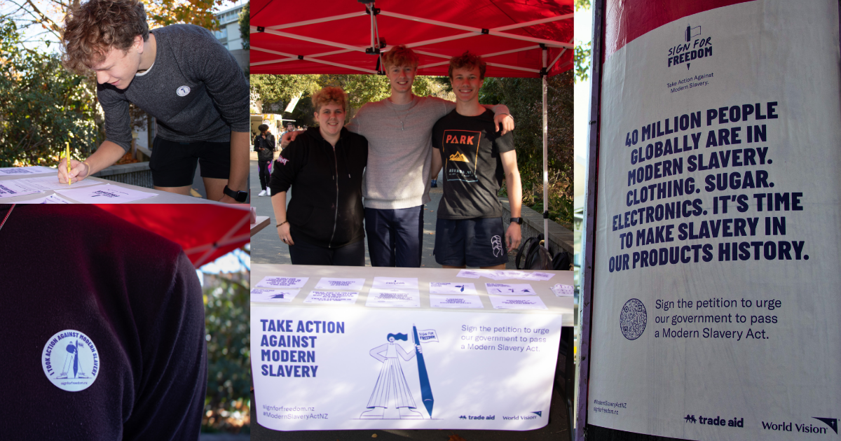 A collage of images from the Trade Aid and World Vision Sign for Freedom campaign—petition signing on a university campus, sticker saying 'I took action against modern slavery', and a street poster that starts, '40 million people globally are in modern slavery.'
