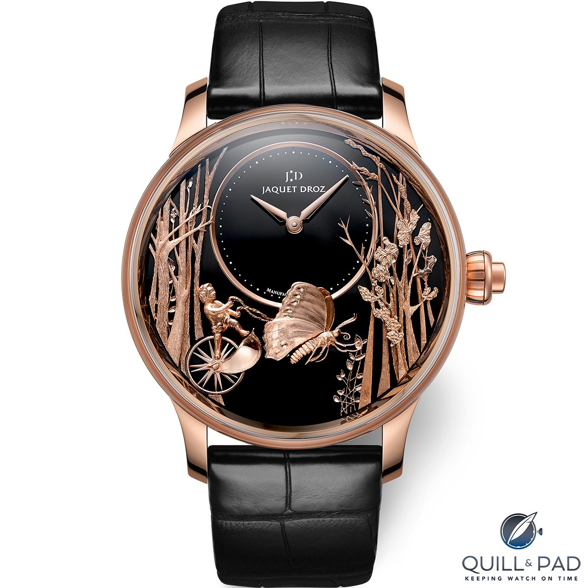 Jaquet Droz Loving Butterfly Automaton in red gold