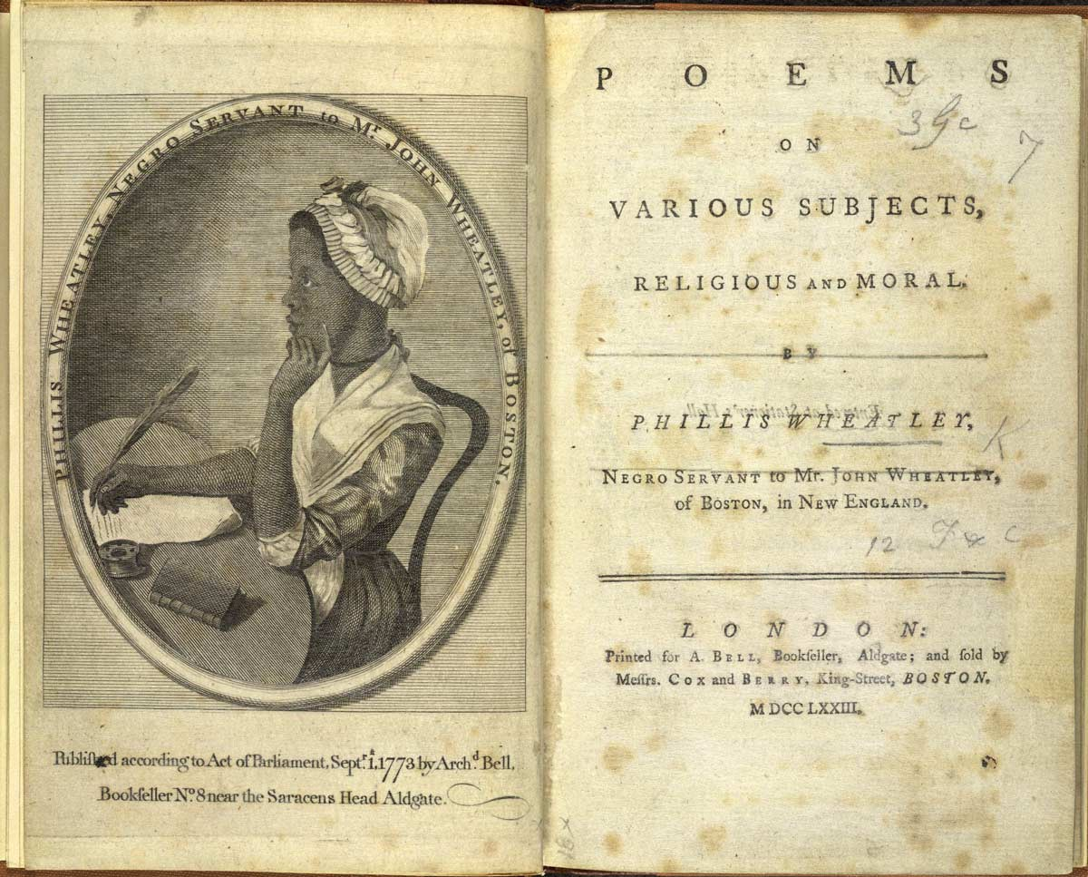 Frontispiece and title-page to Phillis Wheatley's Poems on Various Subjects, Religious and Moral, published in 1773.