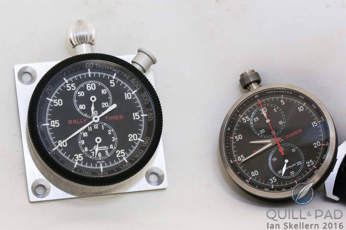 TimeWalker Chronograph Rally Timer Counter Limited Edition 100 (right) and its inspiration