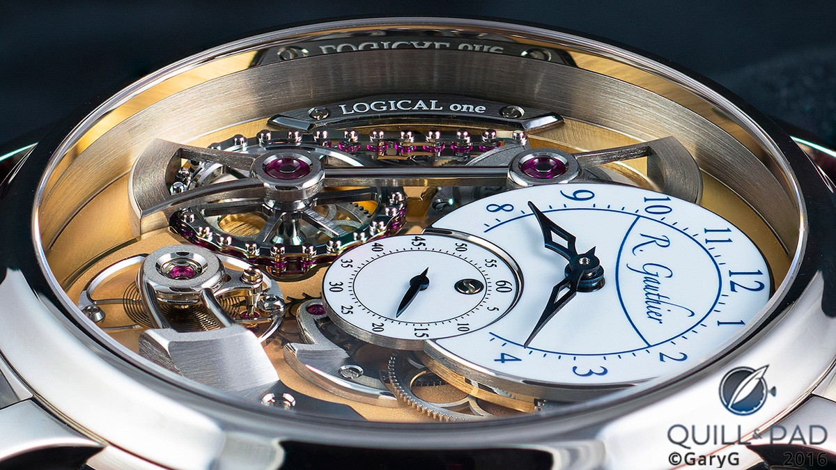Low-angle view: Romain Gauthier Logical One highlighting the semi-cylindrical constant-torque bridge