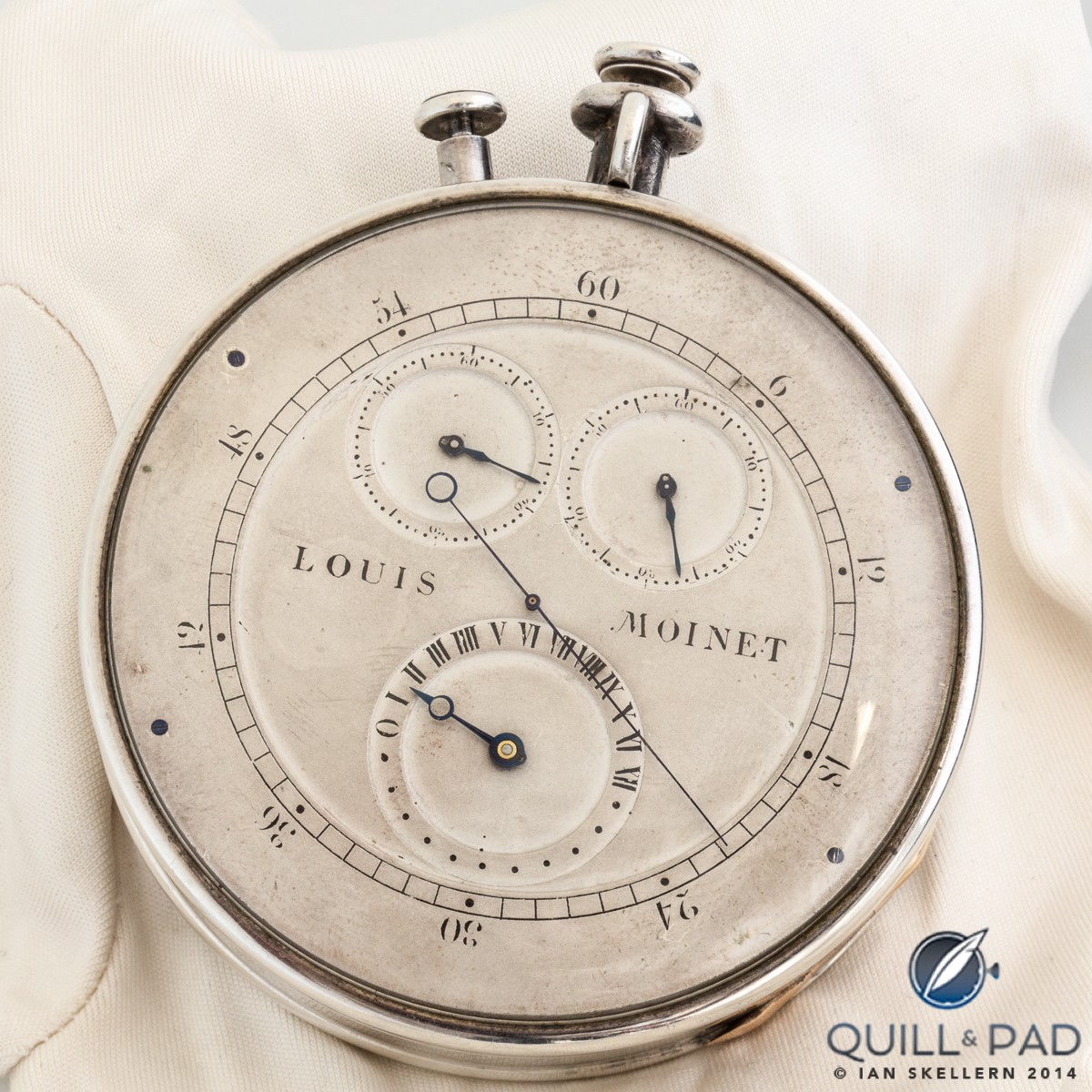 The Louis Moinet Compteur de Tierces has four displays: a long central hand rotating once per second, and three sub dials indicating elapsed seconds, minutes, and hours