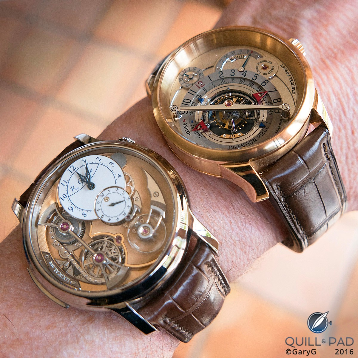 Deep dimensionality: the author's Romain Gauthier Logical One and Greubel Forsey Invention Piece 1 side by side