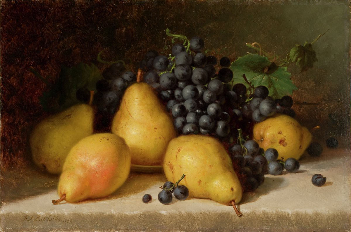 Still life painting of yellows grapes and dark purple grapes on a stone counter.