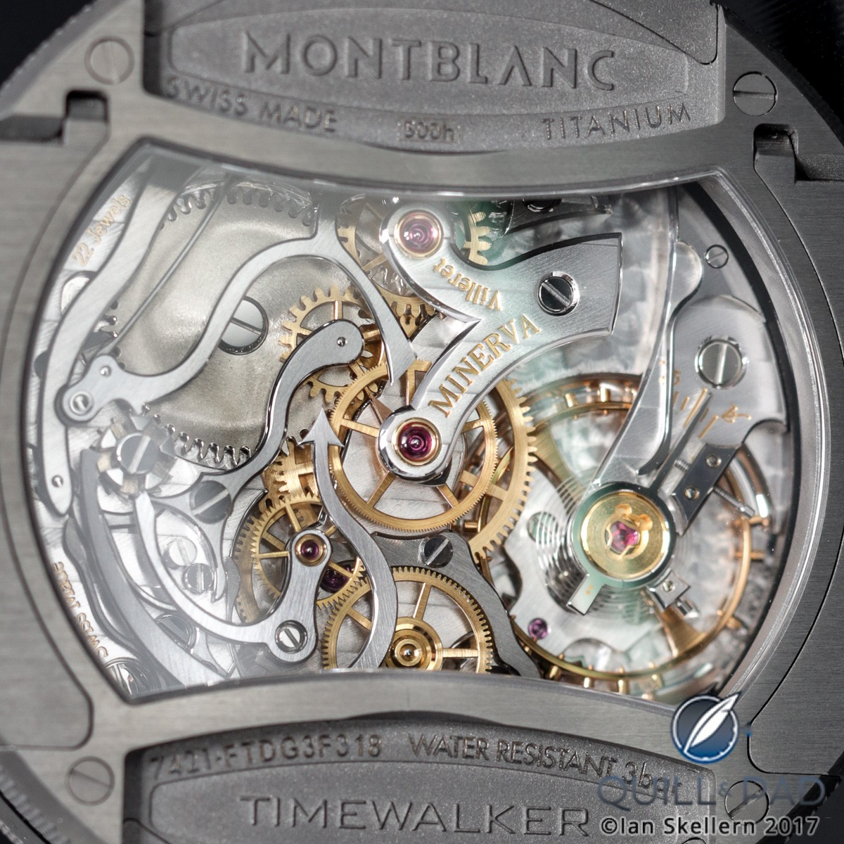 Movement side of the Montblanc Timewalker Chronograph Rally Timer Counter Limited Edition 100