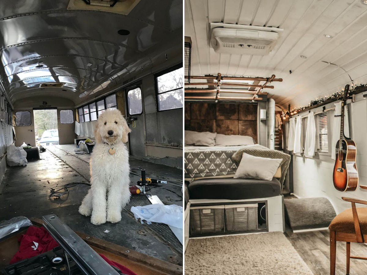 An image of the gutted bus and Caleb Brackney's dog, Ivy, left. The completed bus, right.