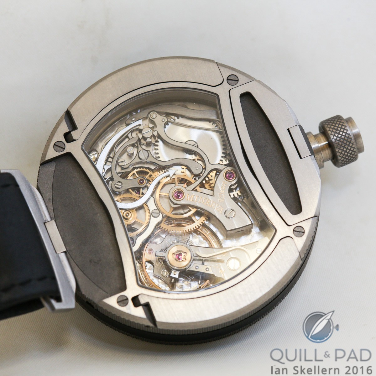 View through the display back to the movement of the Montblanc TimeWalker Chronograph Rally Timer Counter Limited Edition 100