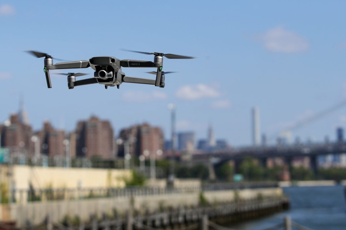 Drone flying over city of New York