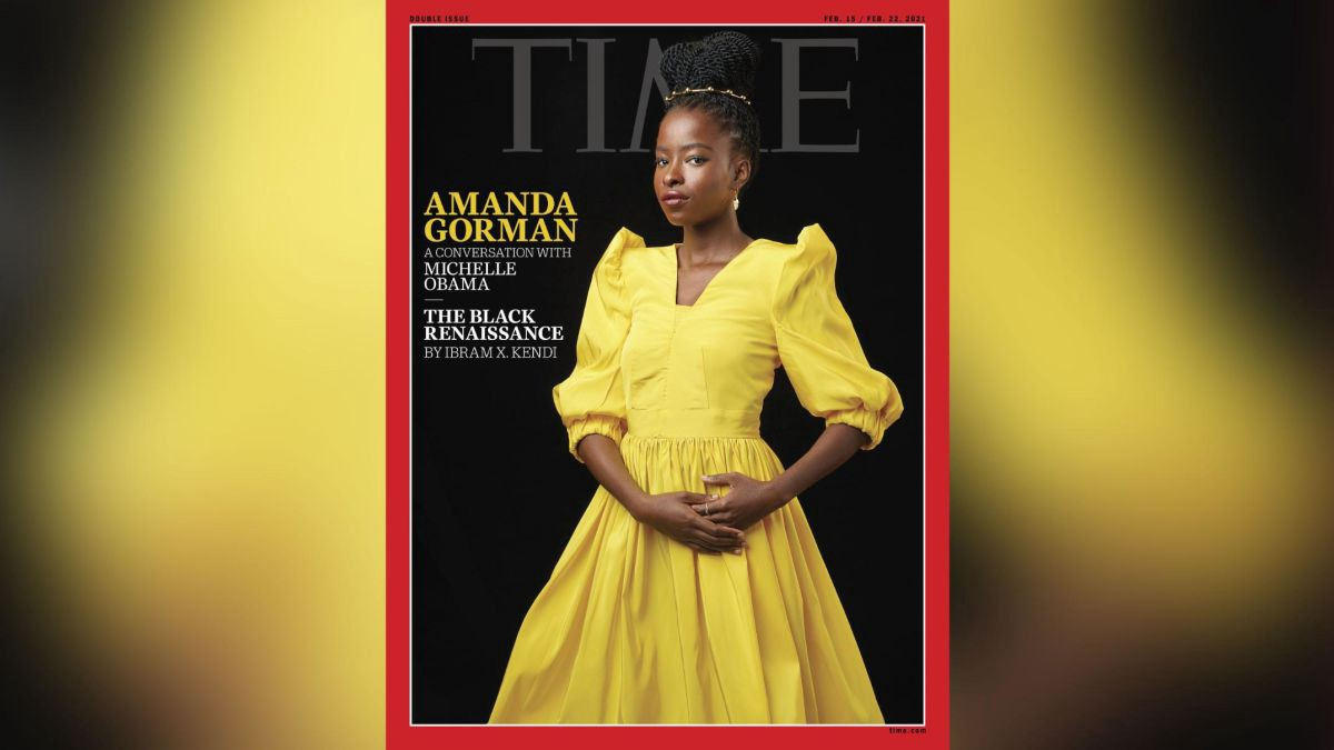 Poet Amanda Gorman in a yellow dolman sleeved gown on the cover of TIME Magazine