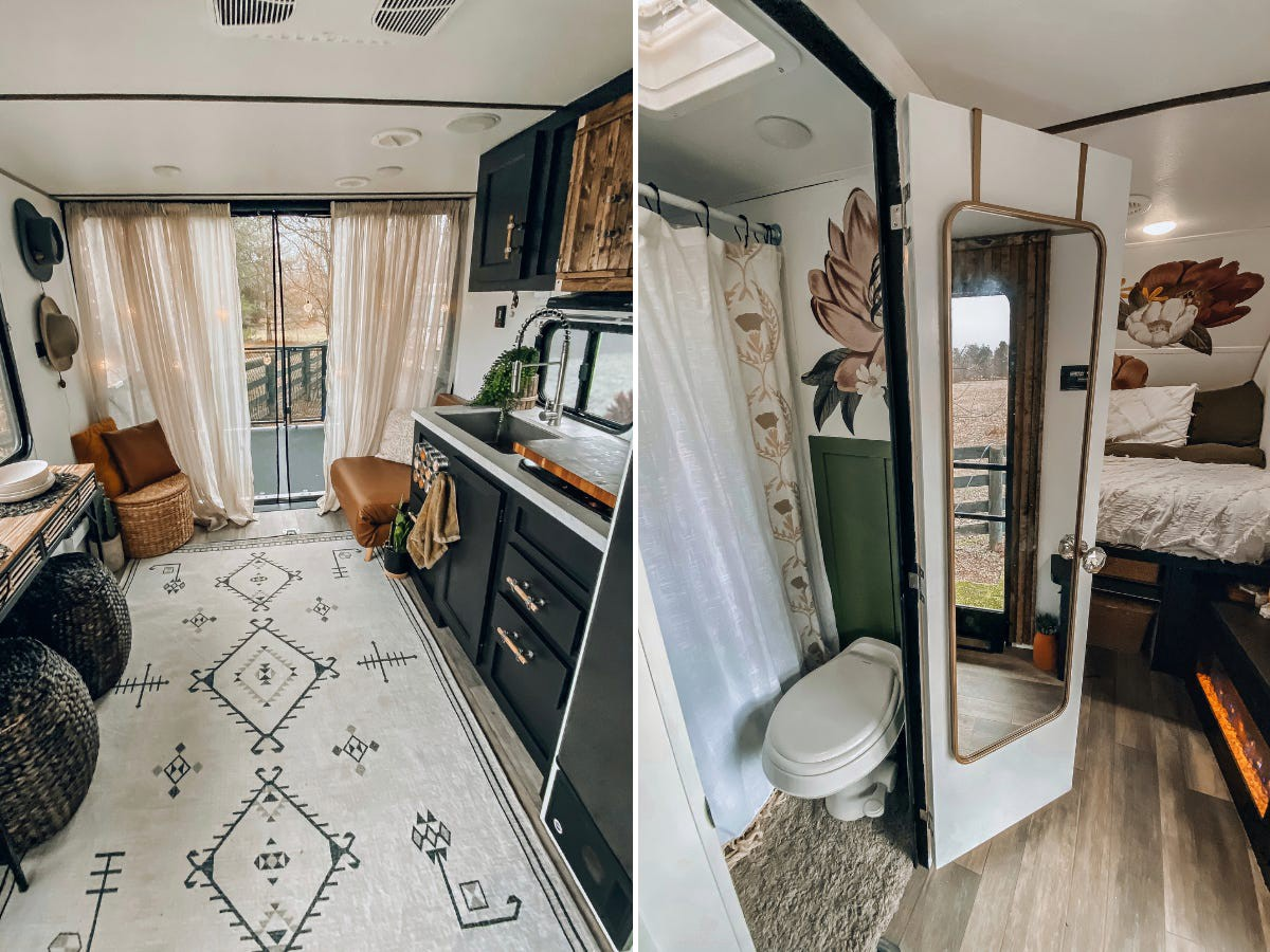 The RV's living room area, bedroom, and bathroom.