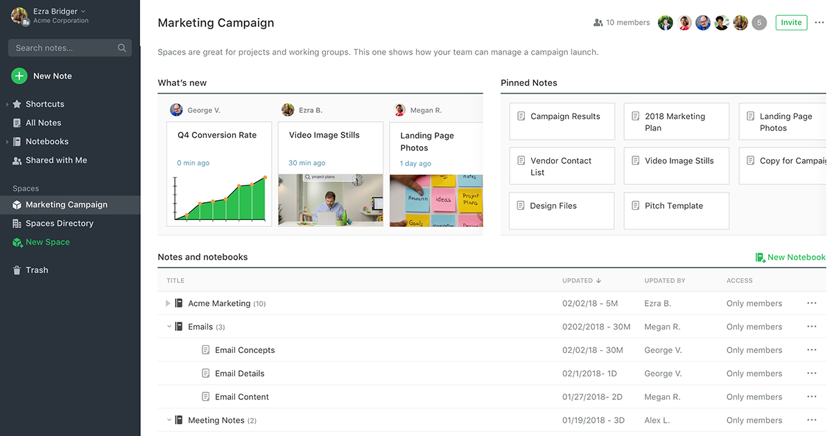 Evernote Business account workspace