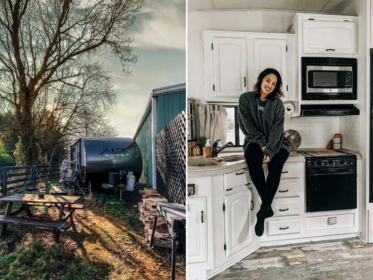 The RV (left) and Kirsten sitting in her kitchen (right).