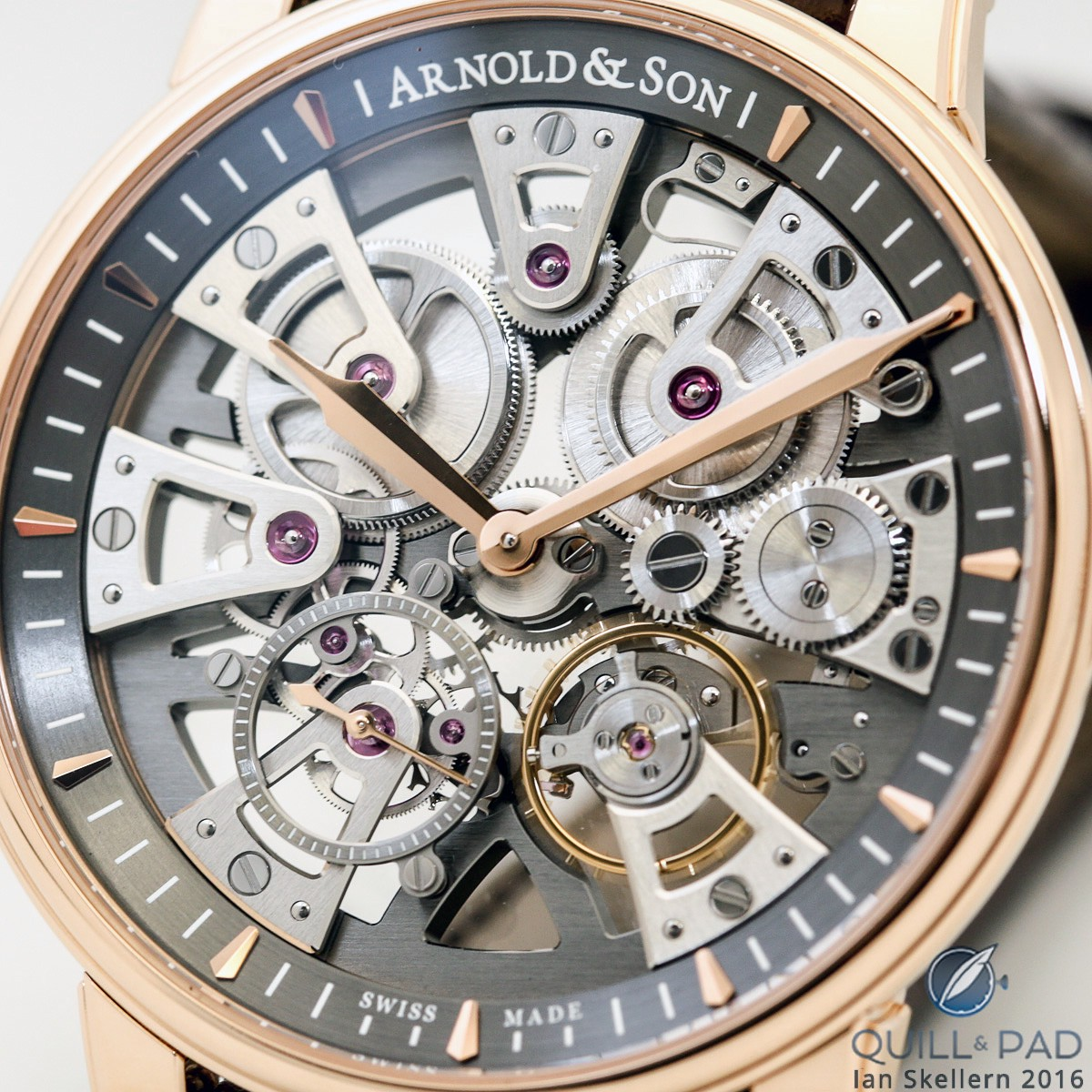 Close look at the dial side of Arnold & Son's Nebula