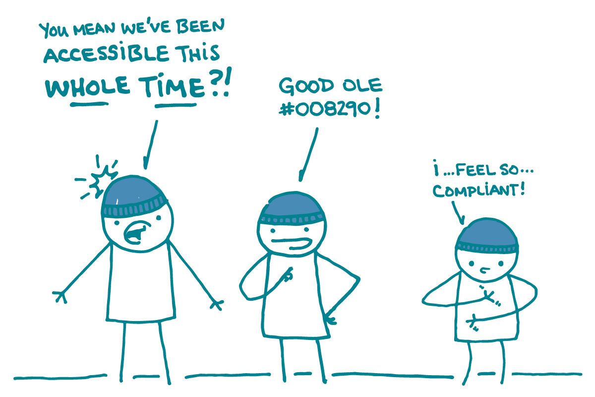 "Three doodles stand next to one another, wearing blue beanie hats. The first one says, ""You mean we've been accessible this WHOLE TIME?!"" The second one says, ""Good ole #008290!"" The third one says, ""I...feel so...compliant!"""
