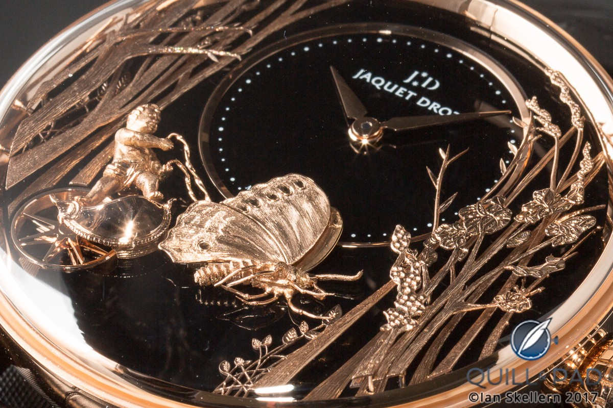 Dial of the Jaquet Droz Loving Butterfly Automaton