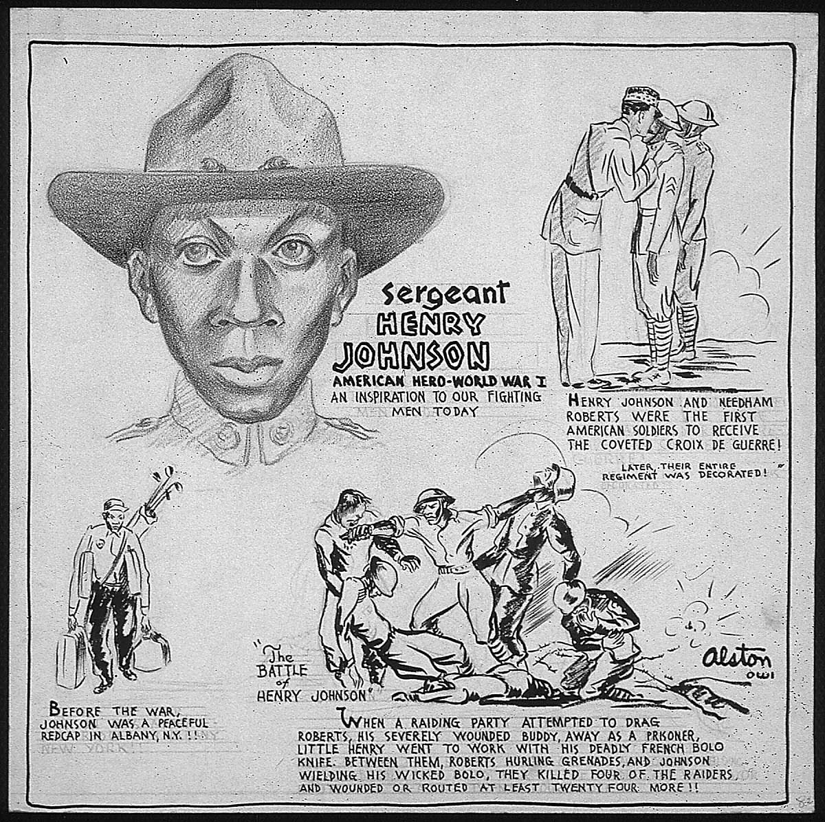 Henry Johnson biographical cartoon by Charles Alston, 1943