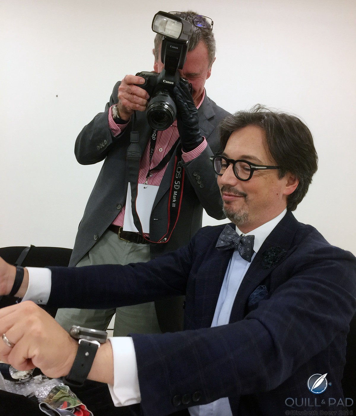 """Montblanc watch division head Davide Cerrato """"driving"""" the new 1858 Chronograph Tachymeter Limited Edition with Quill & Pad's Ian Skellern photographing the action"""