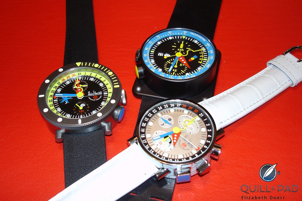 A colorful clutch of Alain Silberstein watches as seen in 2010