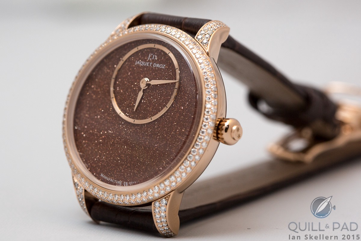 Jaquet Droz Petite Heure Minute 35 mm with 'sunstone' (aventurine glass) dial
