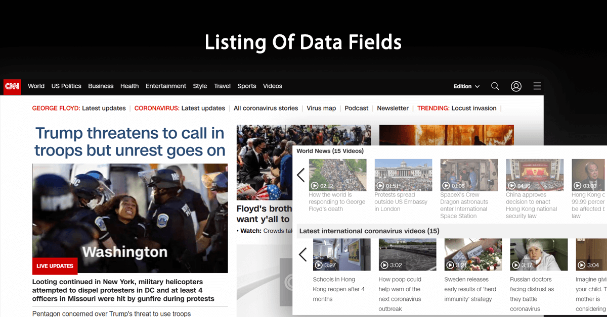 Listing Of Data Fields