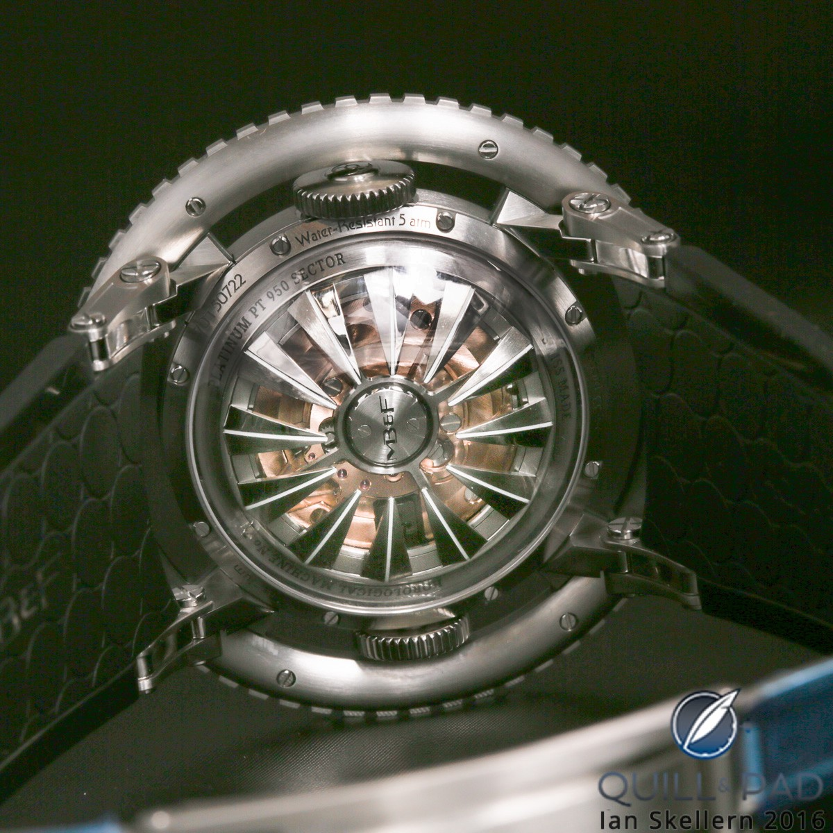 View though the domed display back of the MB&F HM7 Aquapod to the jellyfish-tentacle-like automatic winding rotor