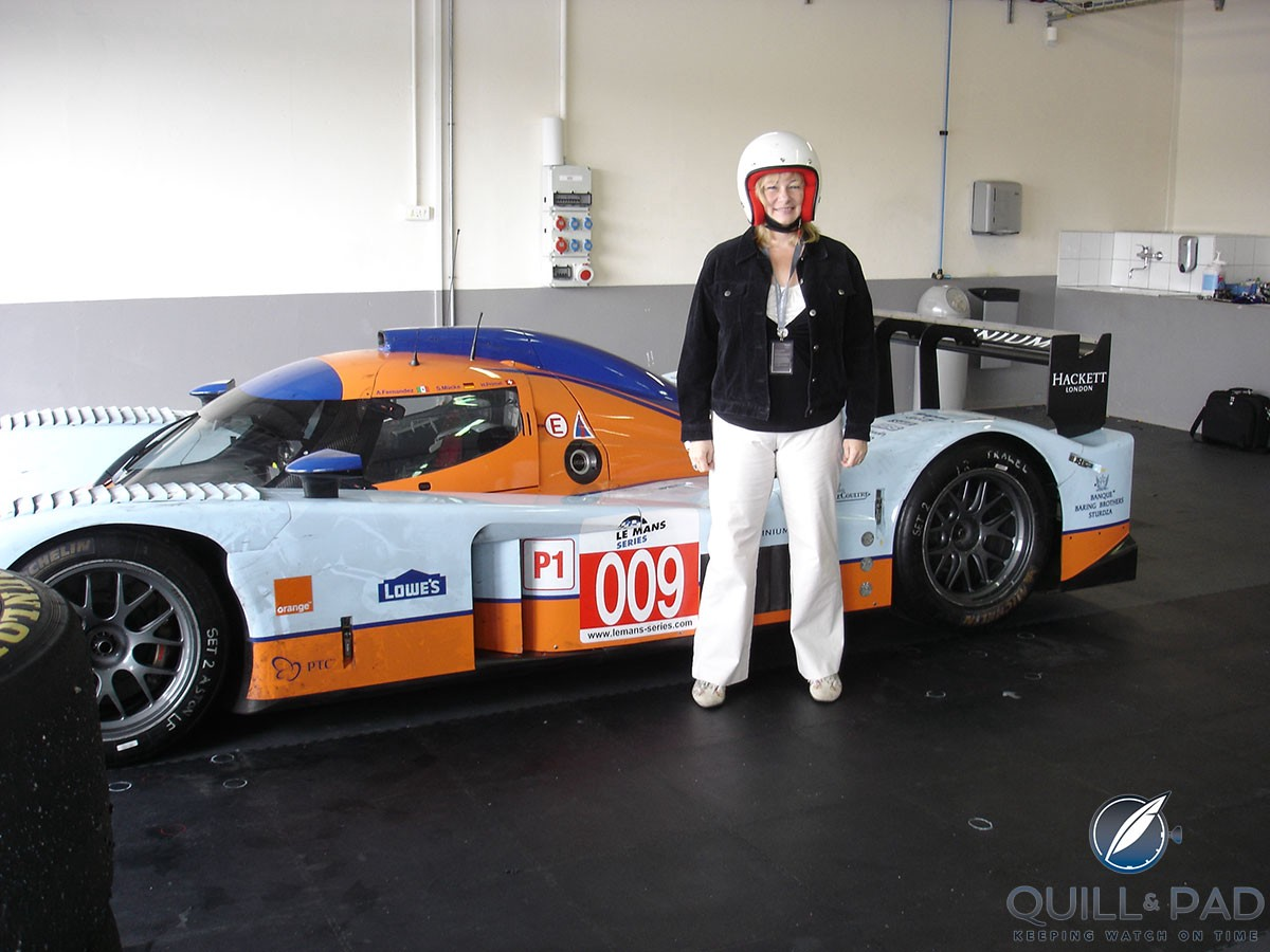 Elizabeth Doerr with the Aston Martin Lola