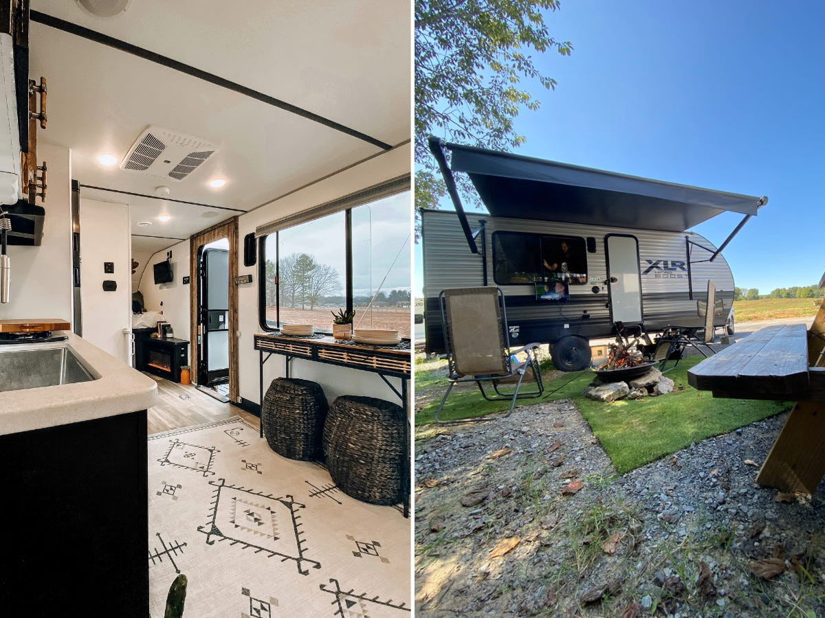 Inside the couple's home (left) and outside the home (right).