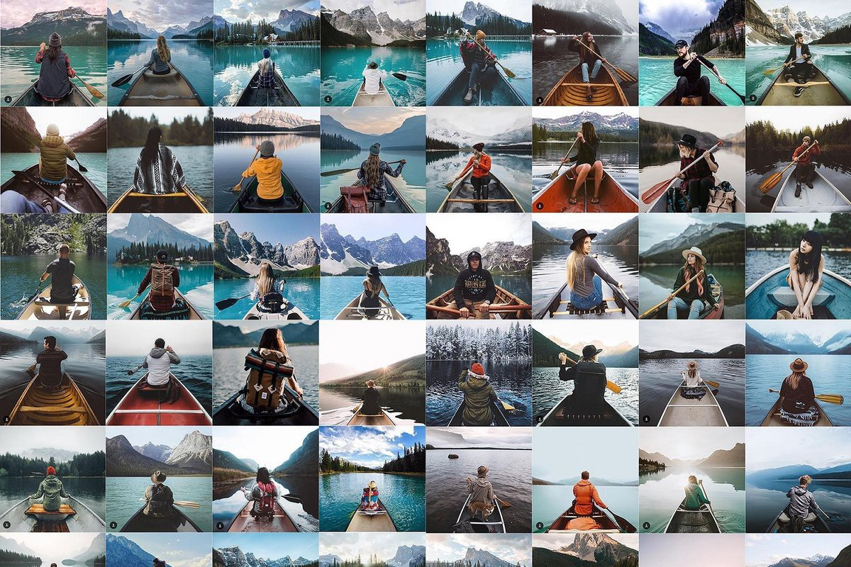 Series of small images that feature similar photos of people in boats on mountain lakes