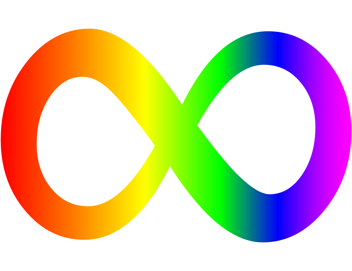 A picture of the rainbow infinity symbol